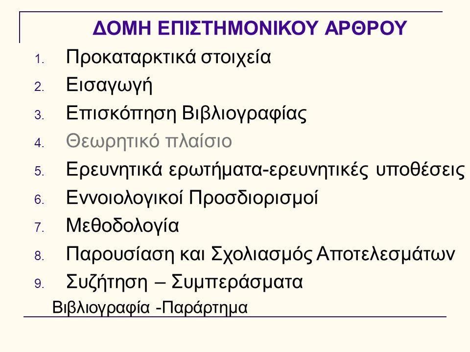 ΔΟΜΗ ΕΠΙΣΤΗΜΟΝΙΚΟΥ ΑΡΘΡΟΥ 1. Προκαταρκτικά στοιχεία 2. Εισαγωγή 3. Επισκόπηση Βιβλιογραφίας 4. Θεωρητικό πλαίσιο 5. Ερευνητικά ερωτήματα-ερευνητικές υ