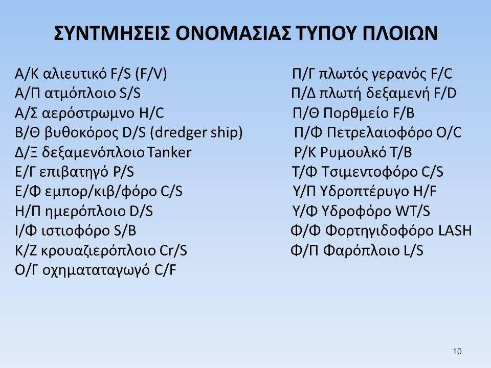 ΣΥΝΤΜΗΣΕΙΣ ΟΝΟΜΑΣΙΑΣ ΤΥΠΟΥ ΠΛΟΙΩΝ Α/Κ αλιευτικό F/S (F/V) Π/Γ πλωτός γερανός F/C Α/Π ατμόπλοιο S/S Π/Δ πλωτή δεξαμενή F/D Α/Σ αερόστρωμνο H/C Π/Θ Πορθμείο F/B Β/Θ βυθοκόρος D/S (dredger ship) Π/Φ Πετρελαιοφόρο O/C Δ/Ξ δεξαμενόπλοιο Tanker Ρ/Κ Ρυμουλκό T/B Ε/Γ επιβατηγό P/S Τ/Φ Τσιμεντοφόρο C/S Ε/Φ εμπορ/κιβ/φόρο C/S Υ/Π Υδροπτέρυγο H/F Η/Π ημερόπλοιο D/S Υ/Φ Υδροφόρο WT/S Ι/Φ ιστιοφόρο S/B Φ/Φ Φορτηγιδοφόρο LASH Κ/Ζ κρουαζιερόπλοιο Cr/S Φ/Π Φαρόπλοιο L/S Ο/Γ οχηματαταγωγό C/F 10