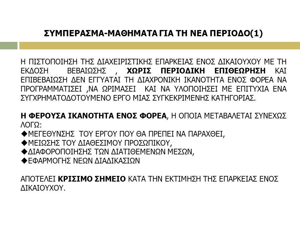 ΣΥΜΠΕΡΑΣΜΑ-ΜΑΘΗΜΑΤΑ ΓΙΑ ΤΗ ΝΕΑ ΠΕΡΙΟΔΟ(1) Η ΠΙΣΤΟΠΟΙΗΣΗ ΤΗΣ ΔΙΑΧΕΙΡΙΣΤΙΚΗΣ ΕΠΑΡΚΕΙΑΣ ΕΝΟΣ ΔΙΚΑΙΟΥΧΟΥ ΜΕ ΤΗ ΕΚΔΟΣΗ ΒΕΒΑΙΩΣΗΣ, ΧΩΡΙΣ ΠΕΡΙΟΔΙΚΗ ΕΠΙΘΕΩΡΗΣΗ ΚΑΙ ΕΠΙΒΕΒΑΙΩΣΗ ΔΕΝ ΕΓΓΥΑΤΑΙ ΤΗ ΔΙΑΧΡΟΝΙΚΗ ΙΚΑΝΟΤΗΤΑ ΕΝΟΣ ΦΟΡΕΑ ΝΑ ΠΡΟΓΡΑΜΜΑΤΙΣΕΙ,ΝΑ ΩΡΙΜΑΣΕΙ ΚΑΙ ΝΑ ΥΛΟΠΟΙΗΣΕΙ ΜΕ ΕΠΙΤΥΧΙΑ ΕΝΑ ΣΥΓΧΡΗΜΑΤΟΔΟΤΟΥΜΕΝΟ ΕΡΓΟ ΜΙΑΣ ΣΥΓΚΕΚΡΙΜΕΝΗΣ ΚΑΤΗΓΟΡΙΑΣ.