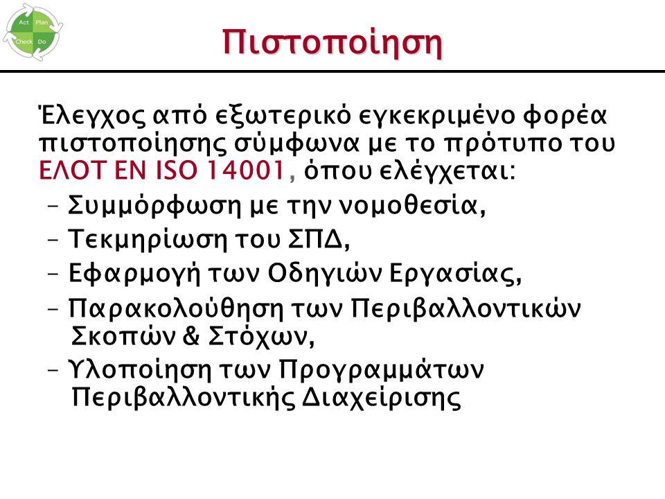 Πιστοποίηση Έλεγχος από εξωτερικό εγκεκριμένο φορέα πιστοποίησης σύμφωνα με το πρότυπο του ΕΛΟΤ ΕΝ ISO 14001, όπου ελέγχεται: – Συμμόρφωση με την νομο