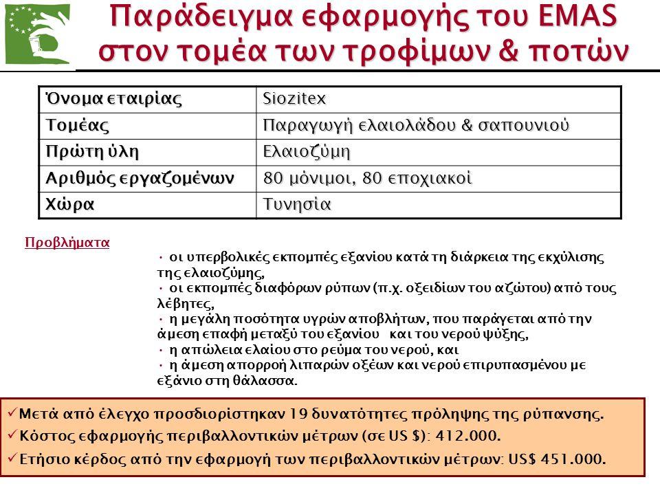 Παράδειγμα εφαρμογής του ΕΜΑS στον τομέα των τροφίμων & ποτών Όνομα εταιρίας Siozitex Tομέας Παραγωγή ελαιολάδου & σαπουνιού Πρώτη ύλη Ελαιοζύμη Αριθμ