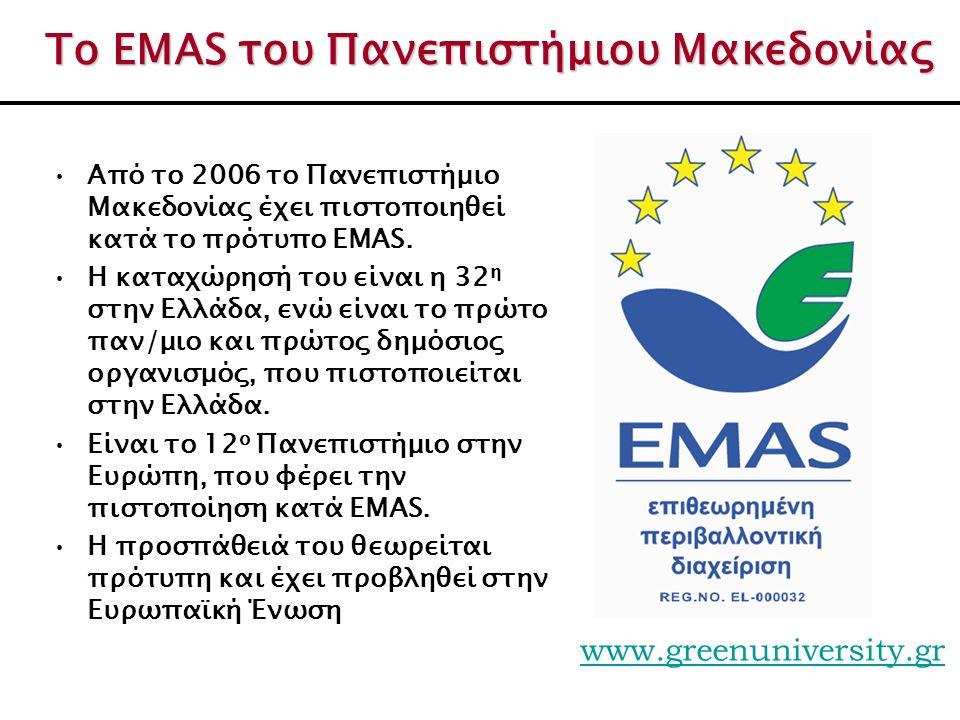 Το EMAS του Πανεπιστήμιου Μακεδονίας Από το 2006 το Πανεπιστήμιο Μακεδονίας έχει πιστοποιηθεί κατά το πρότυπο EMAS. Η καταχώρησή του είναι η 32 η στην