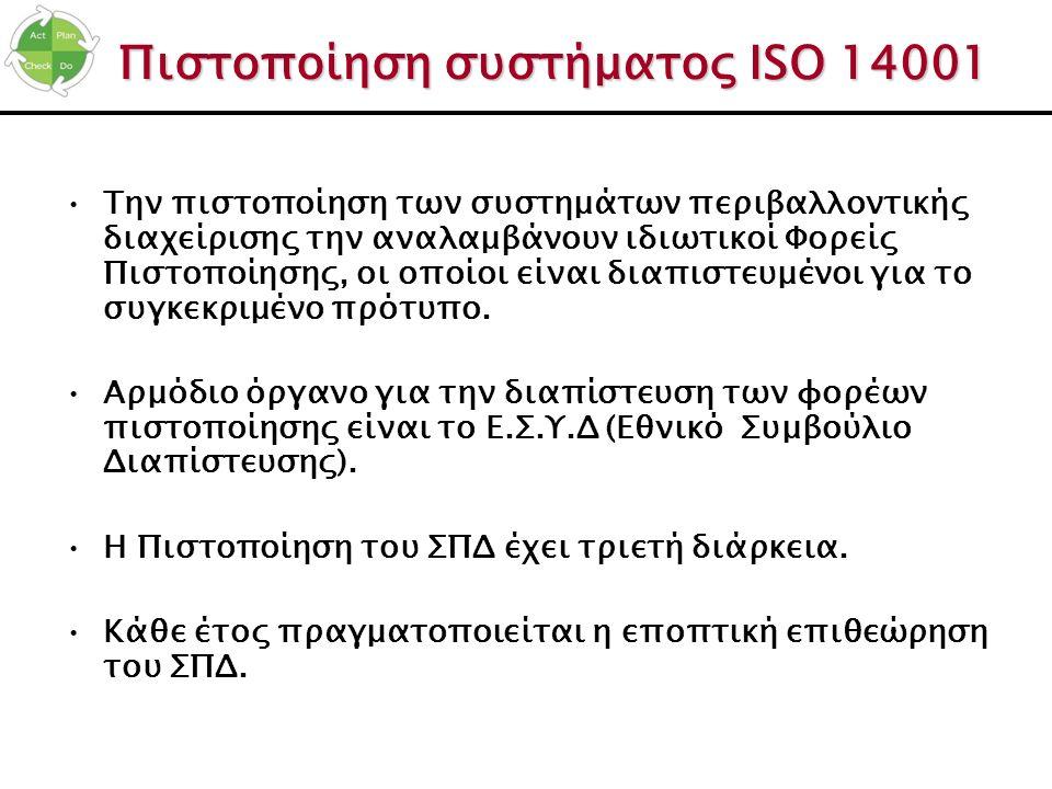 Πιστοποίηση συστήματος ISO 14001 Την πιστοποίηση των συστημάτων περιβαλλοντικής διαχείρισης την αναλαμβάνουν ιδιωτικοί Φορείς Πιστοποίησης, οι οποίοι