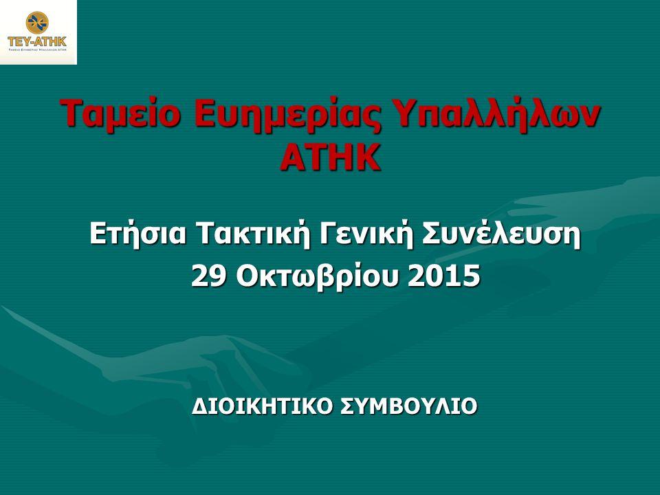 Ταμείο Ευημερίας Υπαλλήλων ΑΤΗΚ Ετήσια Τακτική Γενική Συνέλευση 29 Οκτωβρίου 2015 ΔΙΟΙΚΗΤΙΚΟ ΣΥΜΒΟΥΛΙΟ