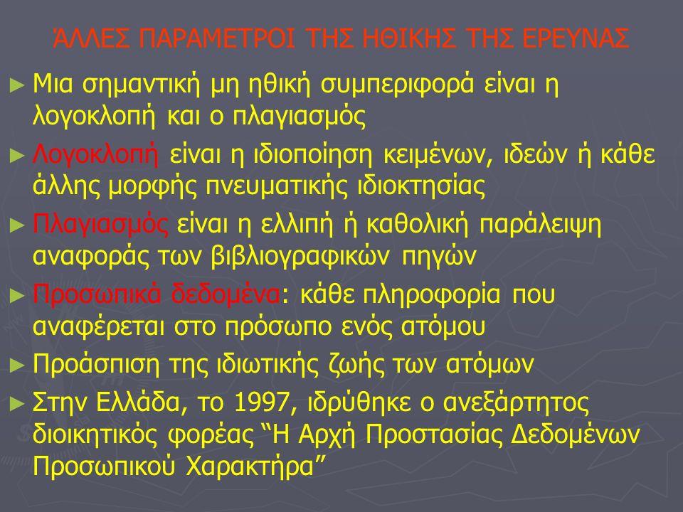 ΆΛΛΕΣ ΠΑΡΑΜΕΤΡΟΙ ΤΗΣ ΗΘΙΚΗΣ ΤΗΣ ΕΡΕΥΝΑΣ ► ► Μια σημαντική μη ηθική συμπεριφορά είναι η λογοκλοπή και ο πλαγιασμός ► ► Λογοκλοπή είναι η ιδιοποίηση κειμένων, ιδεών ή κάθε άλλης μορφής πνευματικής ιδιοκτησίας ► ► Πλαγιασμός είναι η ελλιπή ή καθολική παράλειψη αναφοράς των βιβλιογραφικών πηγών ► ► Προσωπικά δεδομένα: κάθε πληροφορία που αναφέρεται στο πρόσωπο ενός ατόμου ► ► Προάσπιση της ιδιωτικής ζωής των ατόμων ► ► Στην Ελλάδα, το 1997, ιδρύθηκε ο ανεξάρτητος διοικητικός φορέας Η Αρχή Προστασίας Δεδομένων Προσωπικού Χαρακτήρα