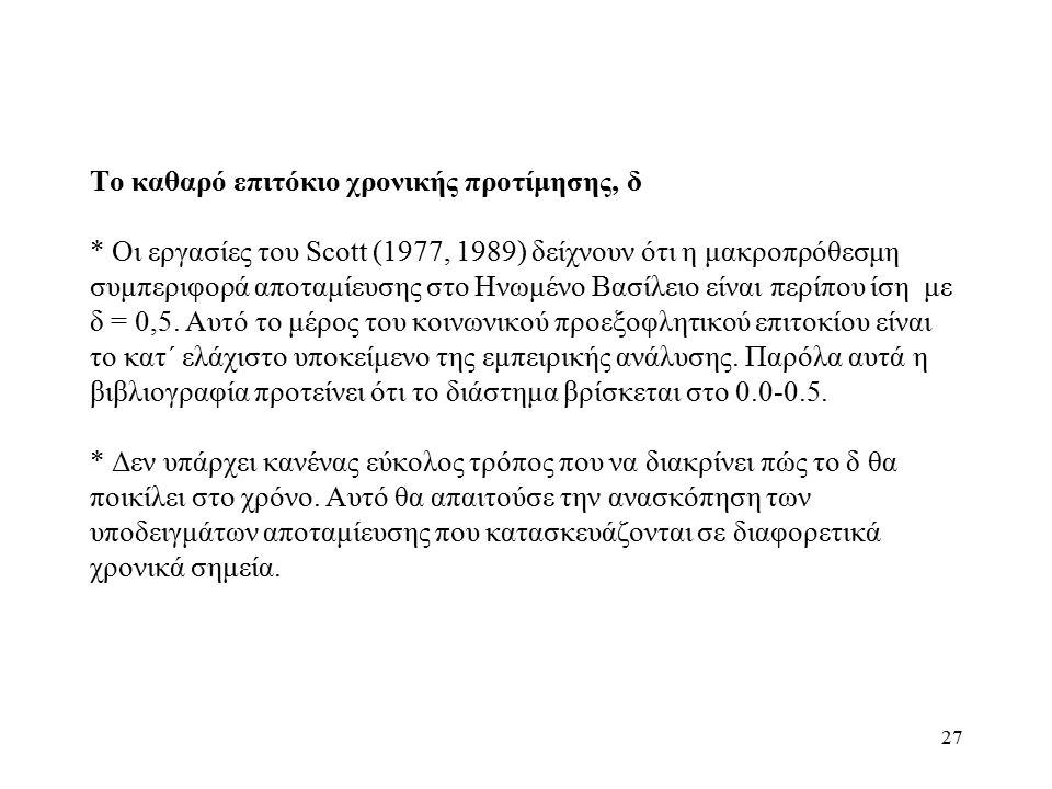 27 Το καθαρό επιτόκιο χρονικής προτίμησης, δ * Οι εργασίες του Scott (1977, 1989) δείχνουν ότι η μακροπρόθεσμη συμπεριφορά αποταμίευσης στο Ηνωμένο Βα