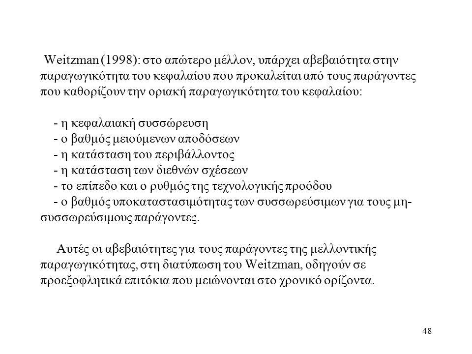 48 Weitzman (1998): στο απώτερο μέλλον, υπάρχει αβεβαιότητα στην παραγωγικότητα του κεφαλαίου που προκαλείται από τους παράγοντες που καθορίζουν την ο