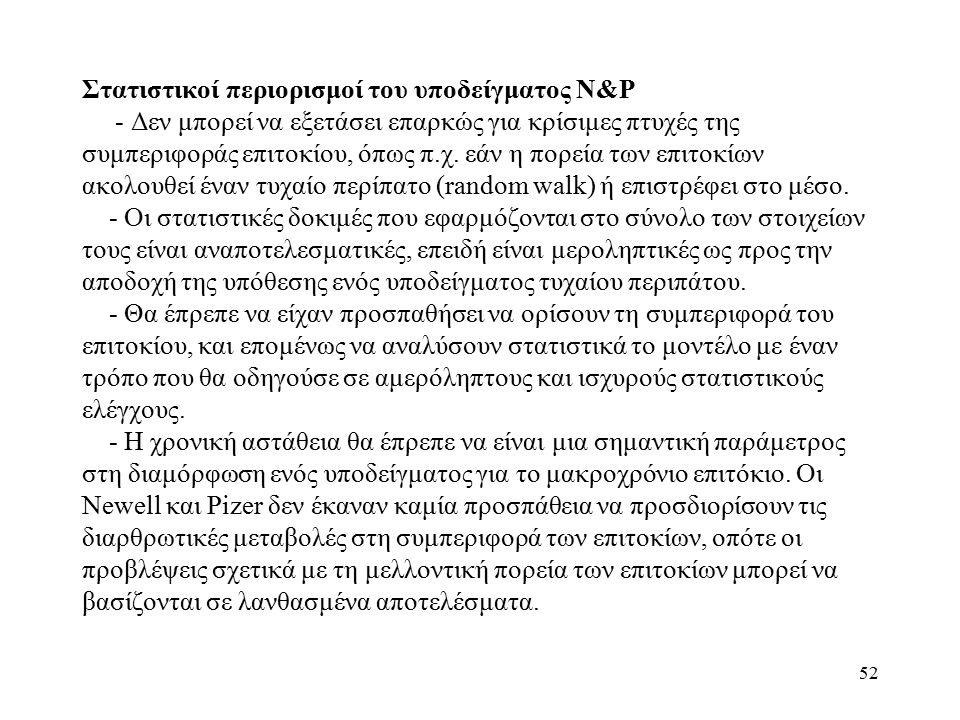 52 Στατιστικοί περιορισμοί του υποδείγματος N&P - Δεν μπορεί να εξετάσει επαρκώς για κρίσιμες πτυχές της συμπεριφοράς επιτοκίου, όπως π.χ.