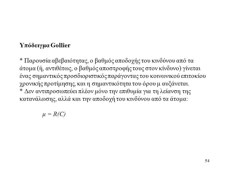 54 Υπόδειγμα Gollier * Παρουσία αβεβαιότητας, ο βαθμός αποδοχής του κινδύνου από τα άτομα (ή, αντιθέτως, ο βαθμός αποστροφής τους στον κίνδυνο) γίνετα