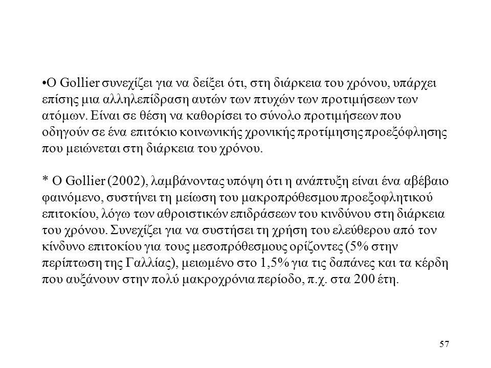 57 Ο Gollier συνεχίζει για να δείξει ότι, στη διάρκεια του χρόνου, υπάρχει επίσης μια αλληλεπίδραση αυτών των πτυχών των προτιμήσεων των ατόμων. Είναι