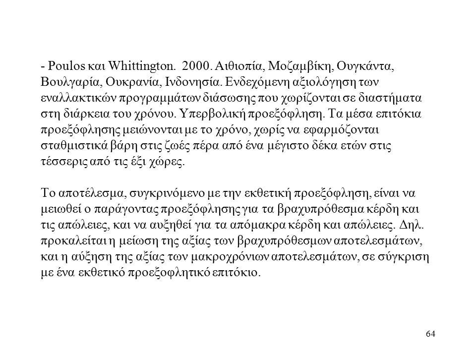 64 - Poulos και Whittington. 2000. Αιθιοπία, Μοζαμβίκη, Ουγκάντα, Βουλγαρία, Ουκρανία, Ινδονησία. Ενδεχόμενη αξιολόγηση των εναλλακτικών προγραμμάτων