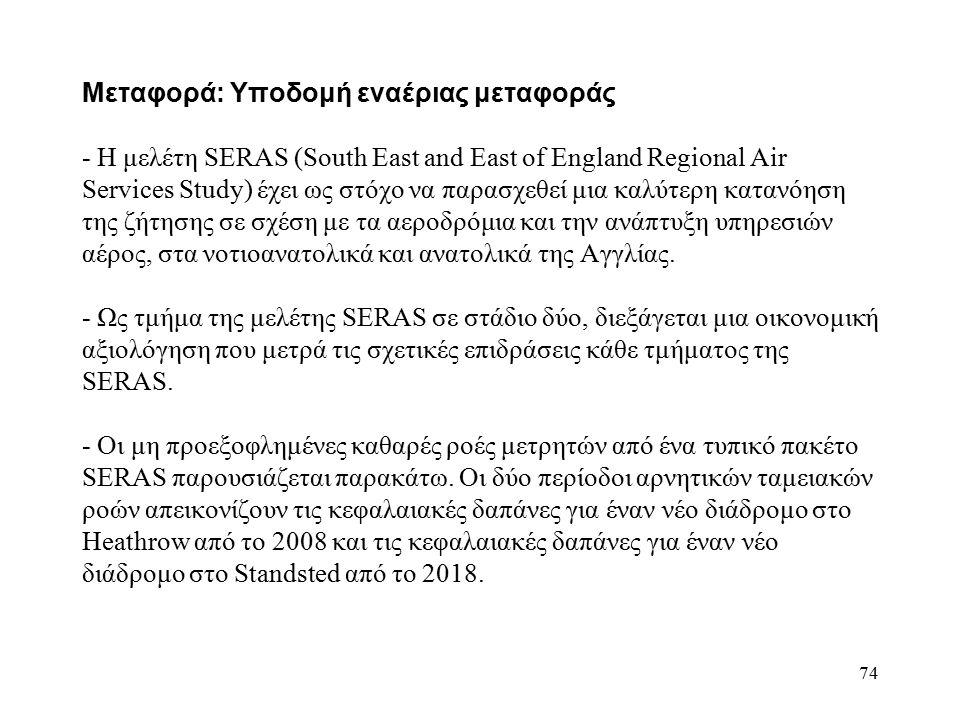74 Μεταφορά: Υποδομή εναέριας μεταφοράς - Η μελέτη SERAS (South East and East of England Regional Air Services Study) έχει ως στόχο να παρασχεθεί μια καλύτερη κατανόηση της ζήτησης σε σχέση με τα αεροδρόμια και την ανάπτυξη υπηρεσιών αέρος, στα νοτιοανατολικά και ανατολικά της Αγγλίας.