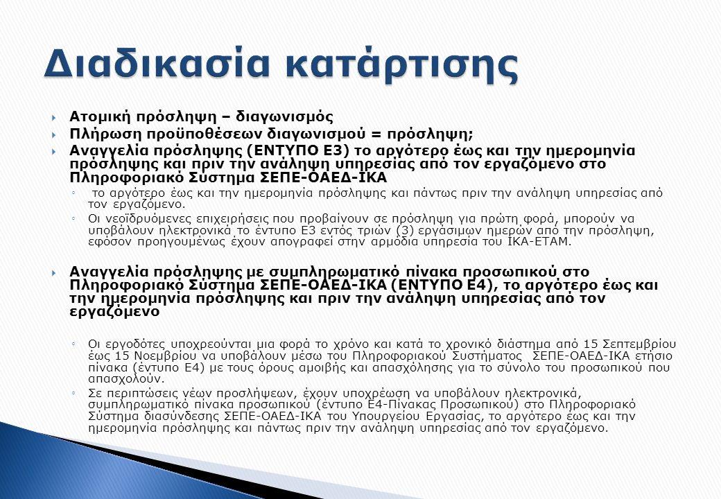  Ατομική πρόσληψη – διαγωνισμός  Πλήρωση προϋποθέσεων διαγωνισμού = πρόσληψη;  Αναγγελία πρόσληψης (ΕΝΤΥΠΟ Ε3) το αργότερο έως και την ημερομηνία πρόσληψης και πριν την ανάληψη υπηρεσίας από τον εργαζόμενο στο Πληροφοριακό Σύστημα ΣΕΠΕ-ΟΑΕΔ-ΙΚΑ ◦ το αργότερο έως και την ημερομηνία πρόσληψης και πάντως πριν την ανάληψη υπηρεσίας από τον εργαζόμενο.