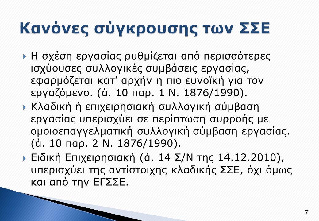 α) Κοινοτικό εργατικό δίκαιο (Οδηγίες και Κανονισμοί της Ευρωπαϊκής Ένωσης εργασιακού ενδιαφέροντος β) Σύνταγμα γ) Διεθνείς Συμβάσεις εργασία δ) Νόμοι ε) Συλλογικές συμβάσεις εργασίας και διαιτητικές αποφάσεις στ) Κανονισμοί εργασίας (εφαρμόζονται κατά κανόνα μόνο στις σχέσεις εξαρτημένης εργασίας) ε) Πρακτική της εκμετάλλευσης ή επιχειρησιακή συνήθεια 8