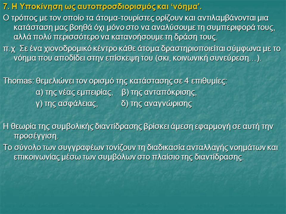 7. Η Υποκίνηση ως αυτοπροσδιορισμός και 'νόημα'.