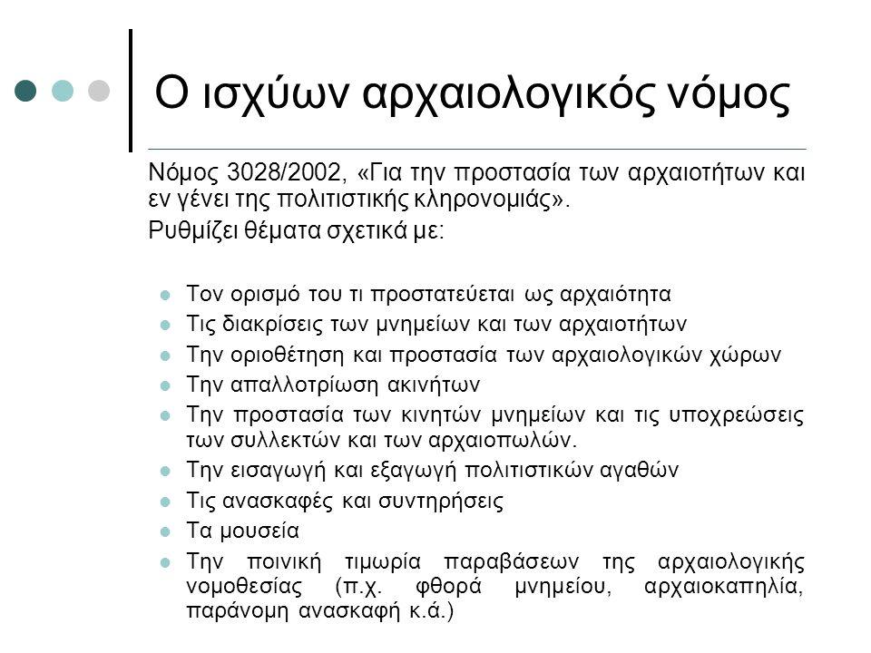 Ο ισχύων αρχαιολογικός νόμος Νόμος 3028/2002, «Για την προστασία των αρχαιοτήτων και εν γένει της πολιτιστικής κληρονομιάς». Ρυθμίζει θέματα σχετικά μ