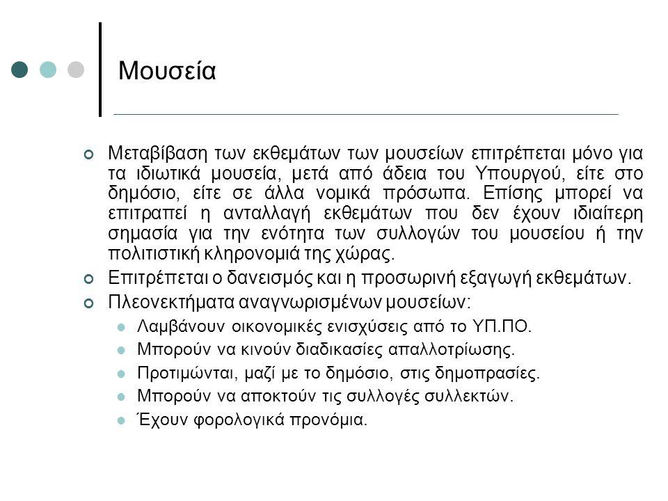 Μεταβίβαση των εκθεμάτων των μουσείων επιτρέπεται μόνο για τα ιδιωτικά μουσεία, μετά από άδεια του Υπουργού, είτε στο δημόσιο, είτε σε άλλα νομικά πρό