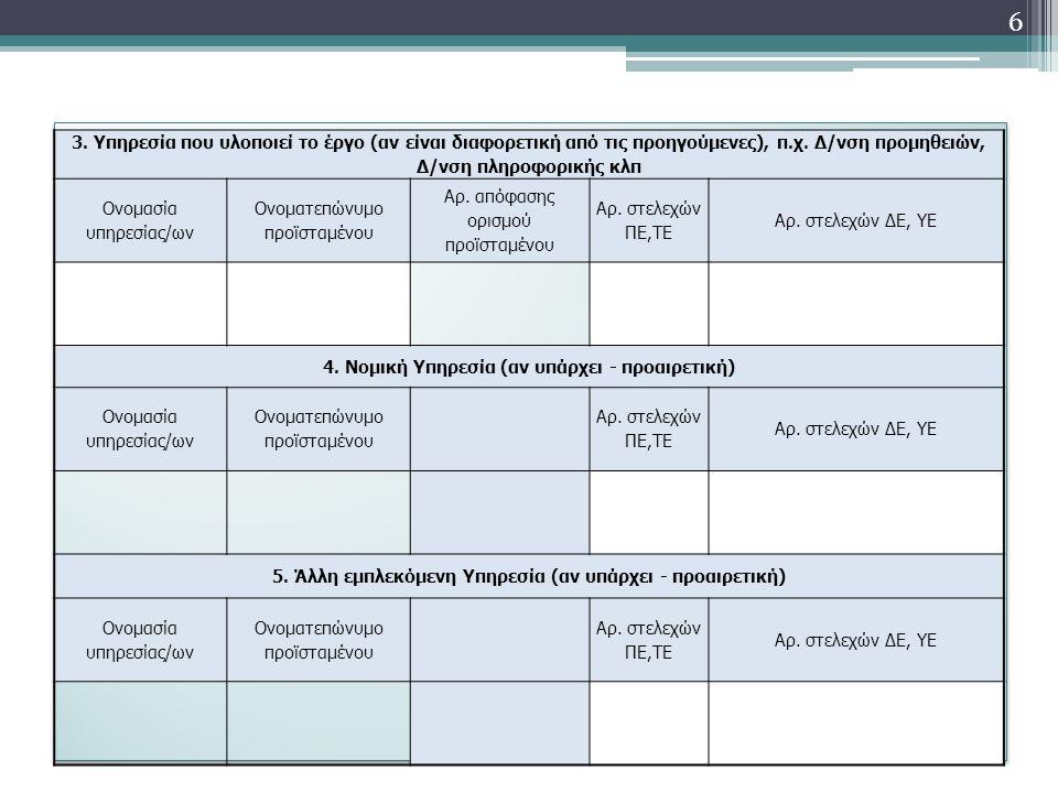 3. Υπηρεσία που υλοποιεί το έργο (αν είναι διαφορετική από τις προηγούμενες), π.χ.