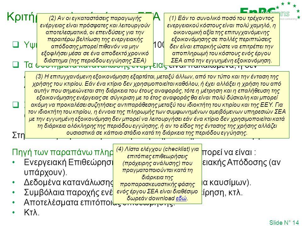 Κριτήριο επιλογής έργου ΣΕΑ Slide N° 14  Υψηλός ενεργειακό κόστος (π.χ. > 100,000 €/y)  Τα συστήματα κατανάλωσης ενέργειας είναι παλαιωμένα, ή δεν λ