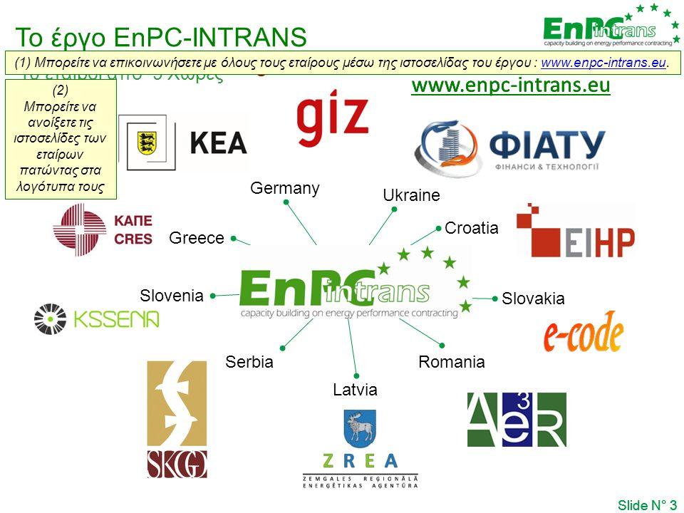 Το έργο EnPC-INTRANS Slide N° 3 10 εταίροι από 9 Χώρες Germany Greece Slovenia Serbia Latvia Romania Slovakia Croatia Ukraine www.enpc-intrans.eu Slide N° 3 www.enpc-intrans.eu   Slide N° 3 www.enpc-intrans.eu  (1) Μπορείτε να επικοινωνήσετε με όλους τους εταίρους μέσω της ιστοσελίδας του έργου : www.enpc-intrans.eu.www.enpc-intrans.eu  (2) Μπορείτε να ανοίξετε τις ιστοσελίδες των εταίρων πατώντας στα λογότυπα τους