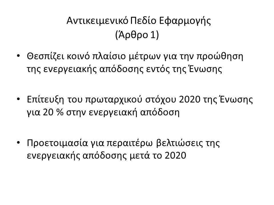Αντικειμενικό Πεδίο Εφαρμογής (Άρθρο 1) Θεσπίζει κοινό πλαίσιο μέτρων για την προώθηση της ενεργειακής απόδοσης εντός της Ένωσης Επίτευξη του πρωταρχικού στόχου 2020 της Ένωσης για 20 % στην ενεργειακή απόδοση Προετοιμασία για περαιτέρω βελτιώσεις της ενεργειακής απόδοσης μετά το 2020