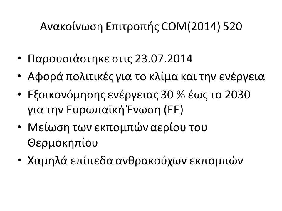Ανακοίνωση Επιτροπής COM(2014) 520 Παρουσιάστηκε στις 23.07.2014 Αφορά πολιτικές για το κλίμα και την ενέργεια Εξοικονόμησης ενέργειας 30 % έως το 2030 για την Ευρωπαϊκή Ένωση (ΕΕ) Μείωση των εκπομπών αερίου του Θερμοκηπίου Χαμηλά επίπεδα ανθρακούχων εκπομπών