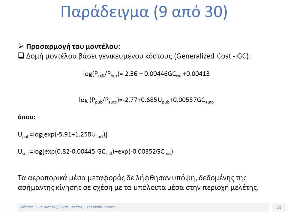 51 Μελέτες Βιωσιμότητας / Σκοπιμότητας – Feasibility studies Παράδειγμα (9 από 30)  Προσαρμογή του μοντέλου:  Δομή μοντέλου βάσει γενικευμένου κόστους (Generalized Cost - GC): log(P rail /P bus )= 2.36 – 0.00446GC rail +0.00413 log (P pub /P auto )=-2.77+0.685U pub +0.00557GC auto όπου: U pub =log[exp(-5.91+1.258U surf )] U surf =log[exp(0.82-0.00445 GC rail )+exp(-0.00352GC bus ) Τα αεροπορικά μέσα μεταφοράς δε λήφθησαν υπόψη, δεδομένης της ασήμαντης κίνησης σε σχέση με τα υπόλοιπα μέσα στην περιοχή μελέτης.