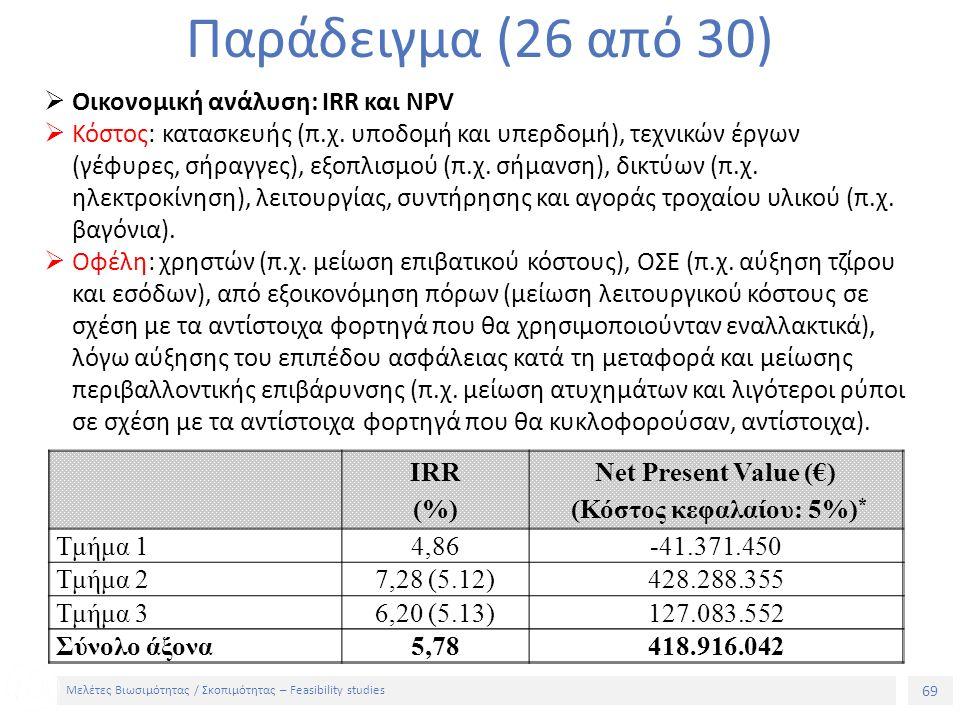 69 Μελέτες Βιωσιμότητας / Σκοπιμότητας – Feasibility studies Παράδειγμα (26 από 30)  Οικονομική ανάλυση: IRR και NPV  Κόστος: κατασκευής (π.χ.