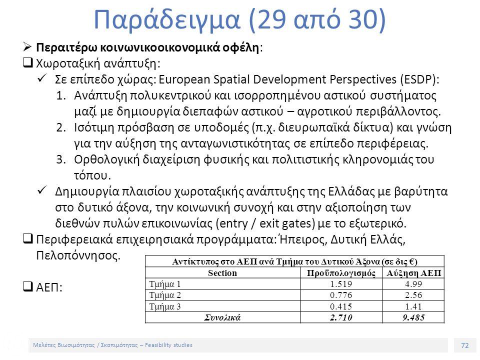 72 Μελέτες Βιωσιμότητας / Σκοπιμότητας – Feasibility studies Παράδειγμα (29 από 30)  Περαιτέρω κοινωνικοοικονομικά οφέλη:  Χωροταξική ανάπτυξη: Σε επίπεδο χώρας: European Spatial Development Perspectives (ESDP): 1.Ανάπτυξη πολυκεντρικού και ισορροπημένου αστικού συστήματος μαζί με δημιουργία διεπαφών αστικού – αγροτικού περιβάλλοντος.