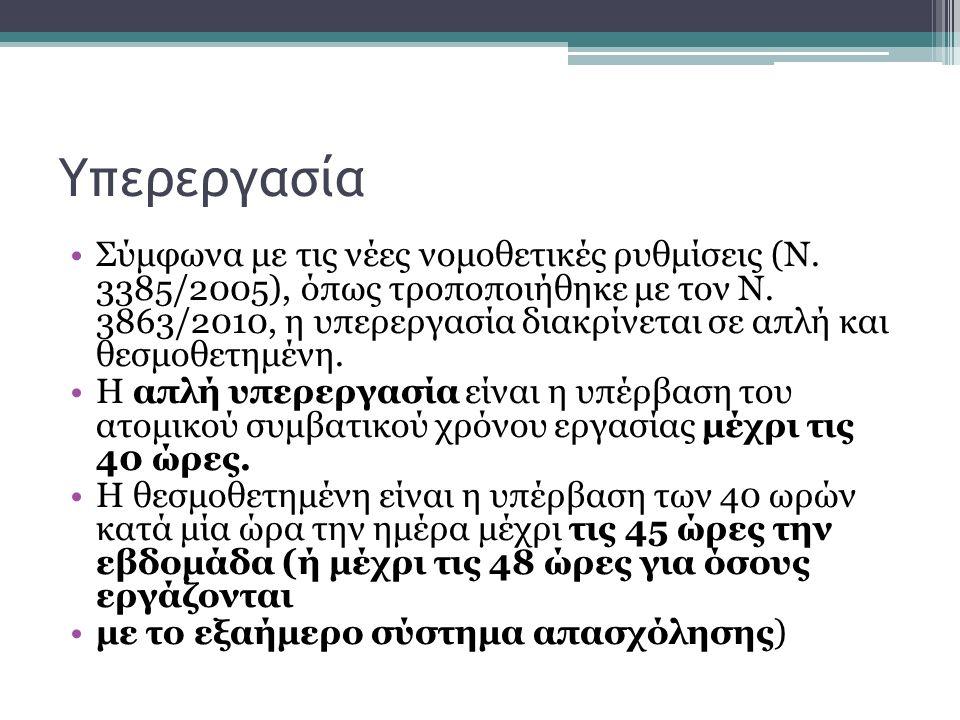 Υπερεργασία Σύμφωνα με τις νέες νομοθετικές ρυθμίσεις (Ν.