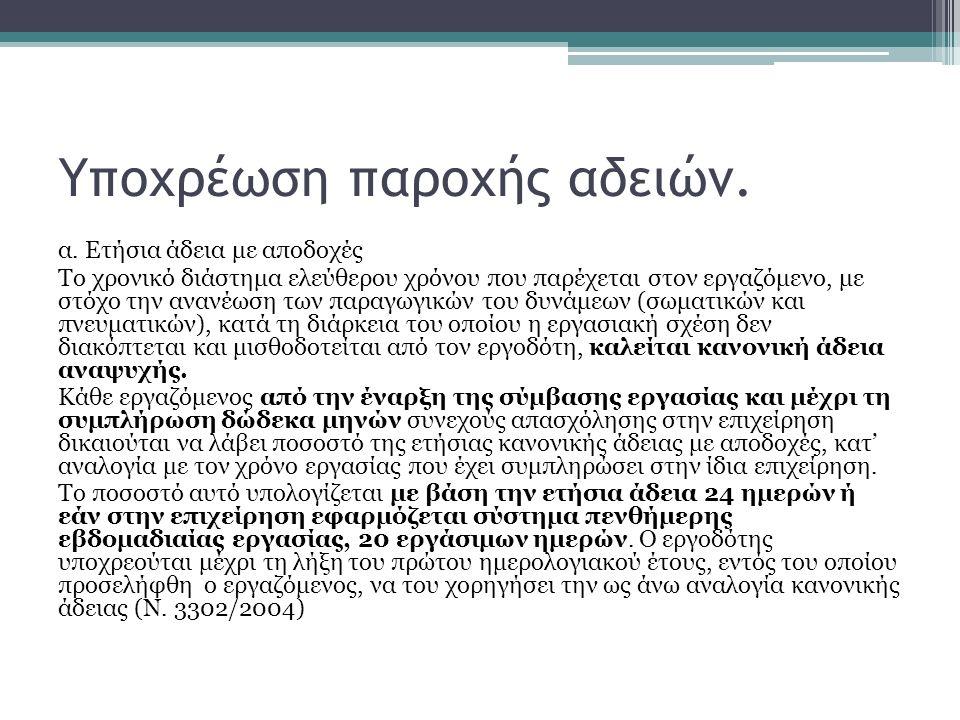 Υποχρέωση παροχής αδειών.α.