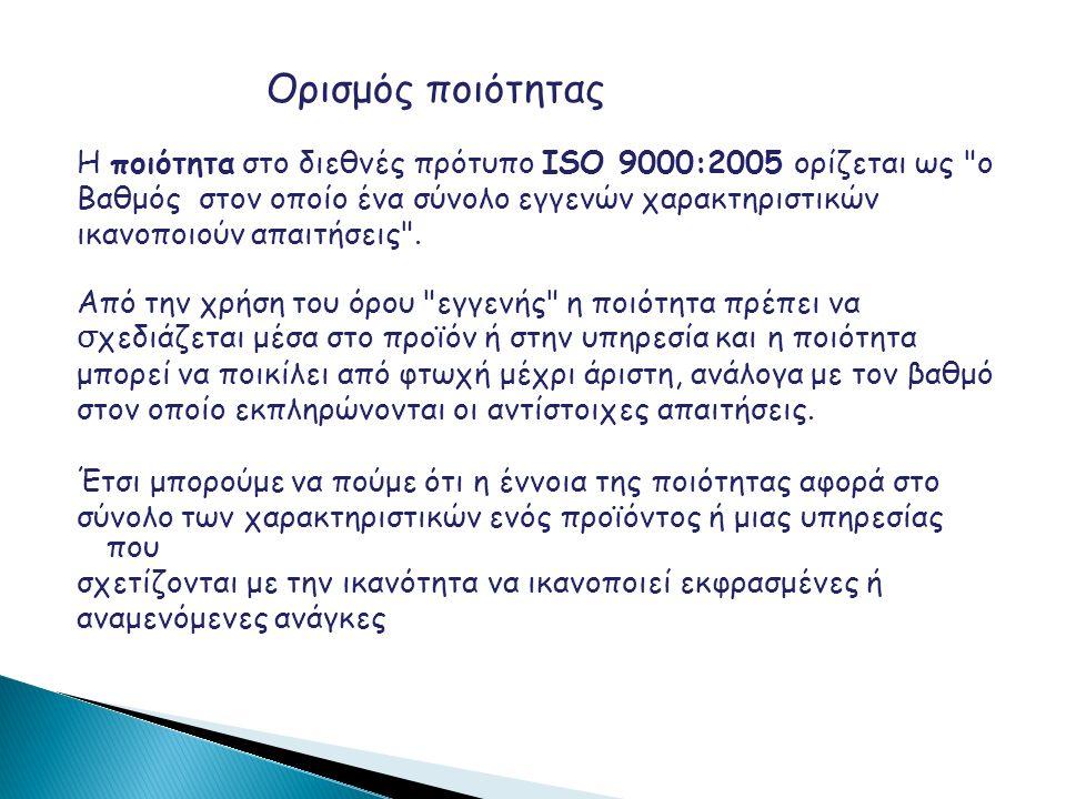 Ορισμός ποιότητας Η ποιότητα στο διεθνές πρότυπο ISO 9000:2005 ορίζεται ως