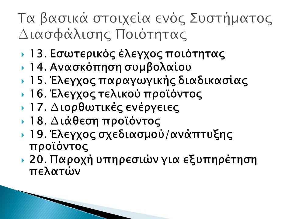  13. Εσωτερικός έλεγχος ποιότητας  14. Ανασκόπηση συµβολαίου  15. Έλεγχος παραγωγικής διαδικασίας  16. Έλεγχος τελικού προϊόντος  17. ∆ιορθωτικές
