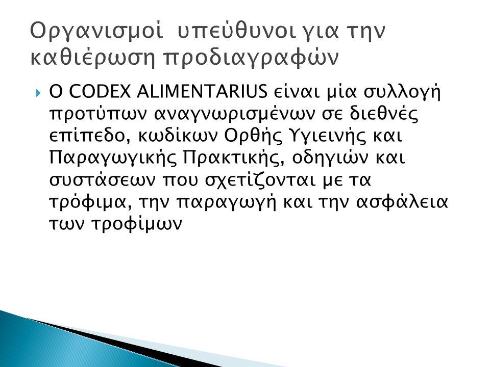  Ο CODEX ALIMENTARIUS είναι µία συλλογή προτύπων αναγνωρισµένων σε διεθνές επίπεδο, κωδίκων Ορθής Υγιεινής και Παραγωγικής Πρακτικής, οδηγιών και συσ