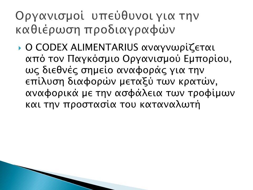  Ο CODEX ALIMENTARIUS αναγνωρίζεται από τον Παγκόσµιο Οργανισµού Εµπορίου, ως διεθνές σηµείο αναφοράς για την επίλυση διαφορών µεταξύ των κρατών, ανα