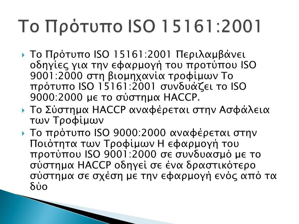  Το Πρότυπο ISO 15161:2001 Περιλαμβάνει οδηγίες για την εφαρμογή του προτύπου ISO 9001:2000 στη βιομηχανία τροφίμων Το πρότυπο ISO 15161:2001 συνδυάζ