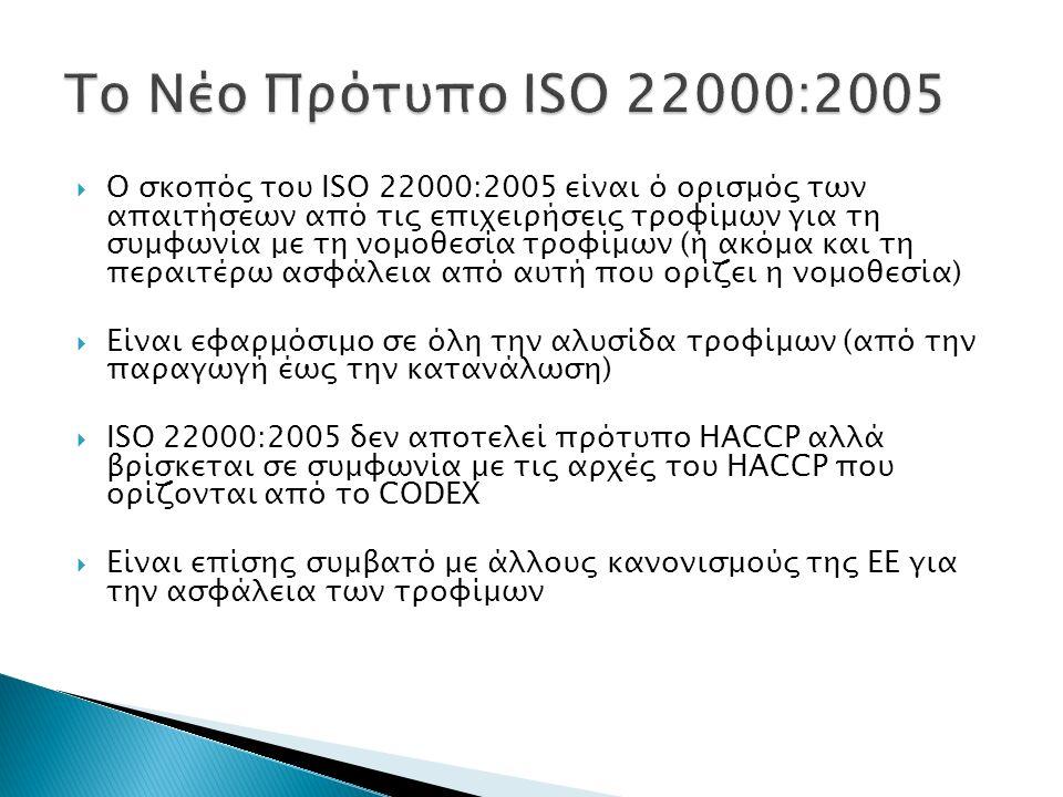  Ο σκοπός του ISO 22000:2005 είναι ό ορισμός των απαιτήσεων από τις επιχειρήσεις τροφίμων για τη συμφωνία με τη νομοθεσία τροφίμων (ή ακόμα και τη πε