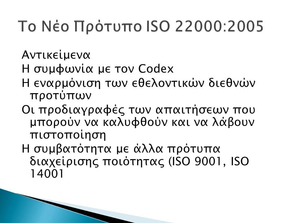 Αντικείμενα Η συμφωνία με τον Codex Η εναρμόνιση των εθελοντικών διεθνών προτύπων Οι προδιαγραφές των απαιτήσεων που μπορούν να καλυφθούν και να λάβου