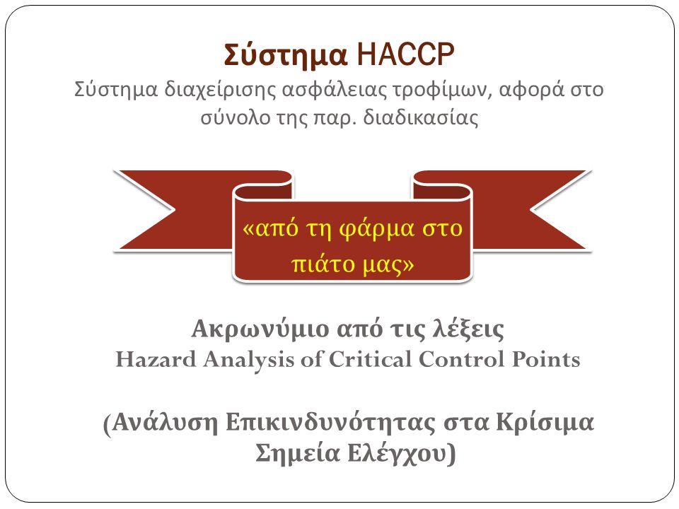 Σύστημα HACCP Σύστημα διαχείρισης ασφάλειας τροφίμων, αφορά στο σύνολο της παρ.