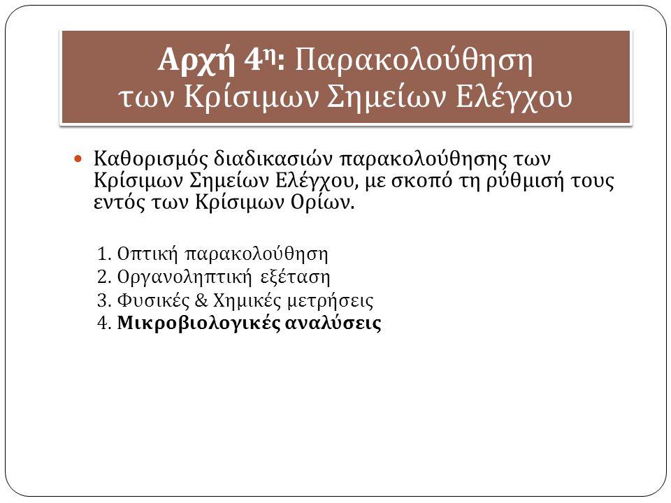 Αρχή 4 η : Παρακολούθηση των Κρίσιμων Σημείων Ελέγχου Καθορισμός διαδικασιών παρακολούθησης των Κρίσιμων Σημείων Ελέγχου, με σκοπό τη ρύθμισή τους εντός των Κρίσιμων Ορίων.