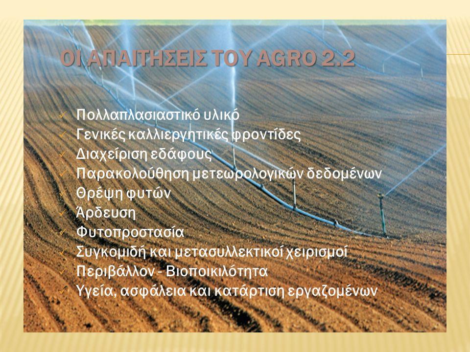 ΟΙ ΑΠΑΙΤΗΣΕΙΣ ΤΟΥ AGRO 2.2 Πολλαπλασιαστικό υλικό Γενικές καλλιεργητικές φροντίδες Διαχείριση εδάφους Παρακολούθηση μετεωρολογικών δεδομένων Θρέψη φυτών Άρδευση Φυτοπροστασία Συγκομιδή και μετασυλλεκτικοί χειρισμοί Περιβάλλον - Βιοποικιλότητα Υγεία, ασφάλεια και κατάρτιση εργαζομένων