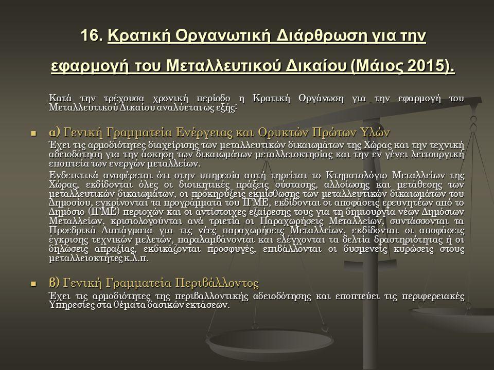 16. Κρατική Οργανωτική Διάρθρωση για την εφαρμογή του Μεταλλευτικού Δικαίου (Μάιος 2015). Κατά την τρέχουσα χρονική περίοδο η Κρατική Οργάνωση για την