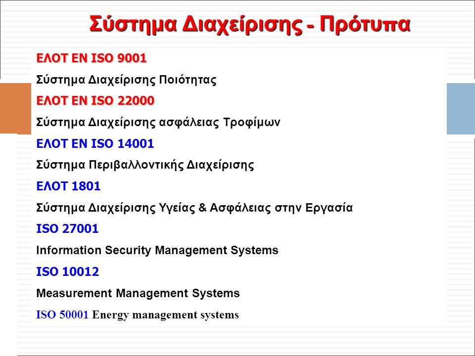 Φ. Κρόκος - ΔΙΠ 51 / ΑΘΗ-2, 3η ΟΣΣ / 2013-01-19 Σύστημα Διαχείρισης - Πρότυ π α ΕΛΟΤ ΕΝ ISO 9001 Σύστημα Διαχείρισης Ποιότητας ΕΛΟΤ ΕΝ ISO 22000 Σύστη