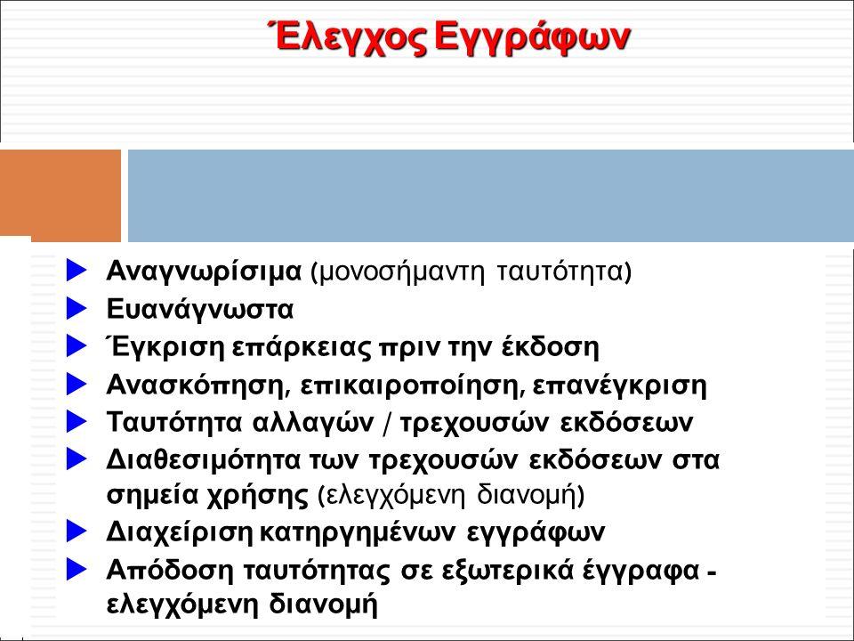 Φ. Κρόκος - ΔΙΠ 51 / ΑΘΗ-2, 3η ΟΣΣ / 2013-01-19 Έλεγχος Εγγράφων  Αναγνωρίσιμα ( μονοσήμαντη ταυτότητα )  Ευανάγνωστα  Έγκριση ε π άρκειας π ριν τη