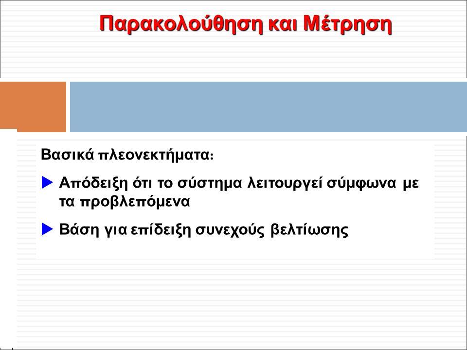 Φ. Κρόκος - ΔΙΠ 51 / ΑΘΗ-2, 3η ΟΣΣ / 2013-01-19 Παρακολούθηση και Μέτρηση Βασικά π λεονεκτήματα :  Α π όδειξη ότι το σύστημα λειτουργεί σύμφωνα με τα