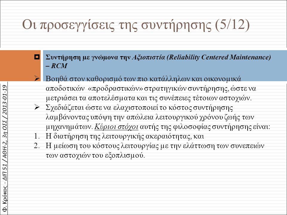 Φ. Κρόκος - ΔΙΠ 51 / ΑΘΗ-2, 3η ΟΣΣ / 2013-01-19  Συντήρηση µε γνώµονα την Αξιοπιστία (Reliability Centered Maintenance) – RCM  Βοηθά στον καθορισµό