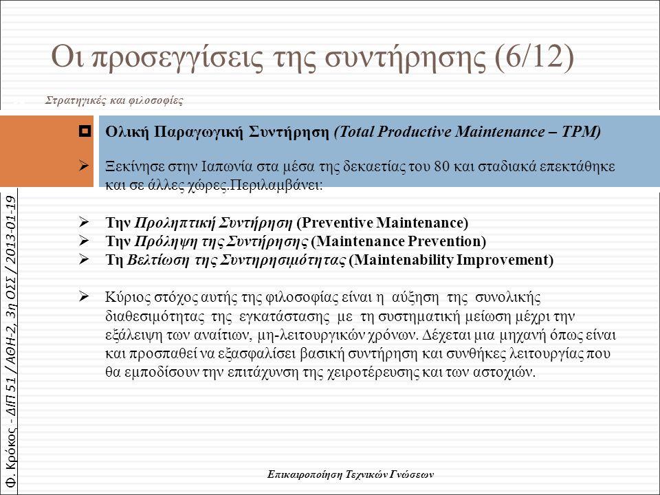 Φ. Κρόκος - ΔΙΠ 51 / ΑΘΗ-2, 3η ΟΣΣ / 2013-01-19 58 Επικαιροποίηση Τεχνικών Γνώσεων Οι προσεγγίσεις της συντήρησης (6/12) Στρατηγικές και φιλοσοφίες 