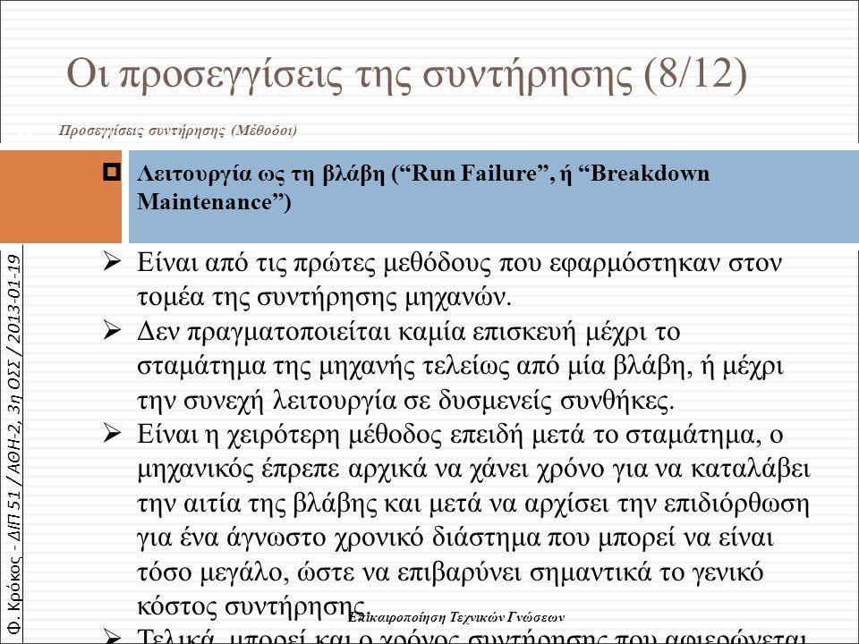 """Φ. Κρόκος - ΔΙΠ 51 / ΑΘΗ-2, 3η ΟΣΣ / 2013-01-19 Οι προσεγγίσεις της συντήρησης (8/12) Προσεγγίσεις συντήρησης (Μέθοδοι) 60  Λειτουργία ως τη βλάβη ("""""""