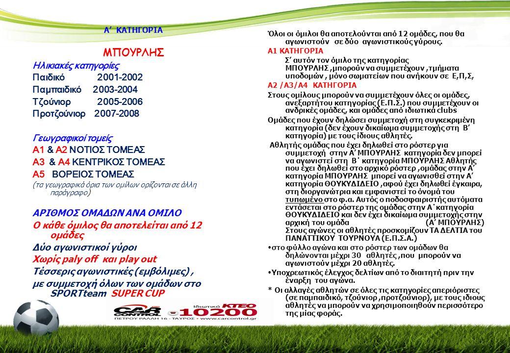 Α' ΚΑΤΗΓΟΡΙΑ ΜΠΟΥΡΛΗΣ Ηλικιακές κατηγορίες Παιδικό 2001-2002 Παμπαιδικό 2003-2004 Τζούνιορ 2005-2006 Προτζούνιορ 2007-2008 Γεωγραφικοί τομείς Α1 & Α2 ΝΟΤΙΟΣ ΤΟΜΕΑΣ Α3 & Α4 ΚΕΝΤΡΙΚΟΣ ΤΟΜΕΑΣ Α5 ΒΟΡΕΙΟΣ ΤΟΜΕΑΣ (τα γεωγραφικά όρια των ομίλων ορίζονται σε άλλη παράγραφο) ΑΡΙΘΜΟΣ ΟΜΑΔΩΝ ΑΝΑ ΟΜΙΛΟ Ο κάθε όμιλος θα αποτελείται από 12 ομάδες Δύο αγωνιστικοί γύροι Χωρίς paly off και play out Τέσσερις αγωνιστικές (εμβόλιμες), με συμμετοχή όλων των ομάδων στο SPORTteam SUPER CUP Όλοι οι όμιλοι θα αποτελούνται από 12 ομάδες, που θα αγωνιστούν σε δύο αγωνιστικούς γύρους.