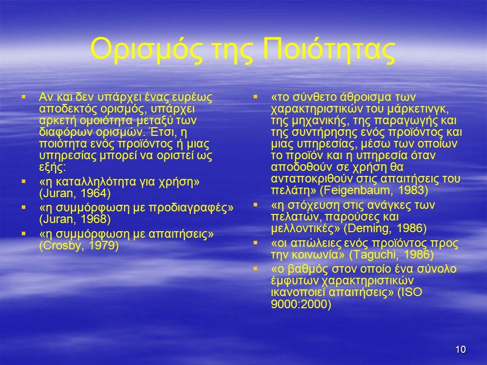 10 Ορισμός της Ποιότητας   Αν και δεν υπάρχει ένας ευρέως αποδεκτός ορισμός, υπάρχει αρκετή ομοιότητα μεταξύ των διαφόρων ορισμών.